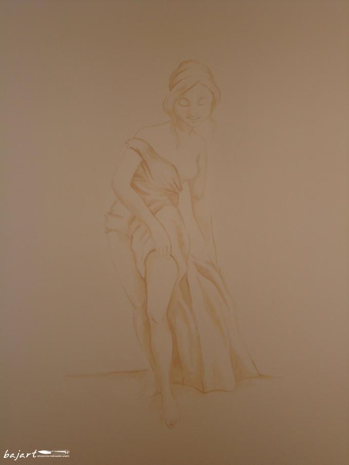 Rysunek na ścianie - kobieta