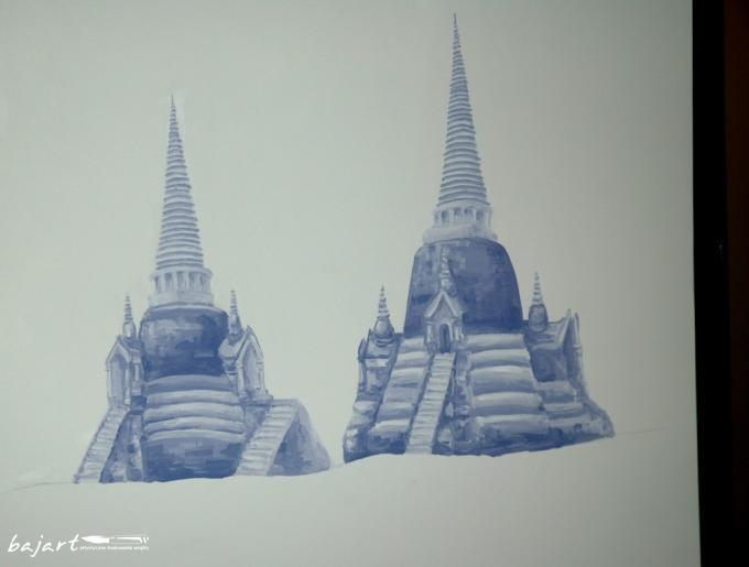 Monochromatyczna dekoracja ściany
