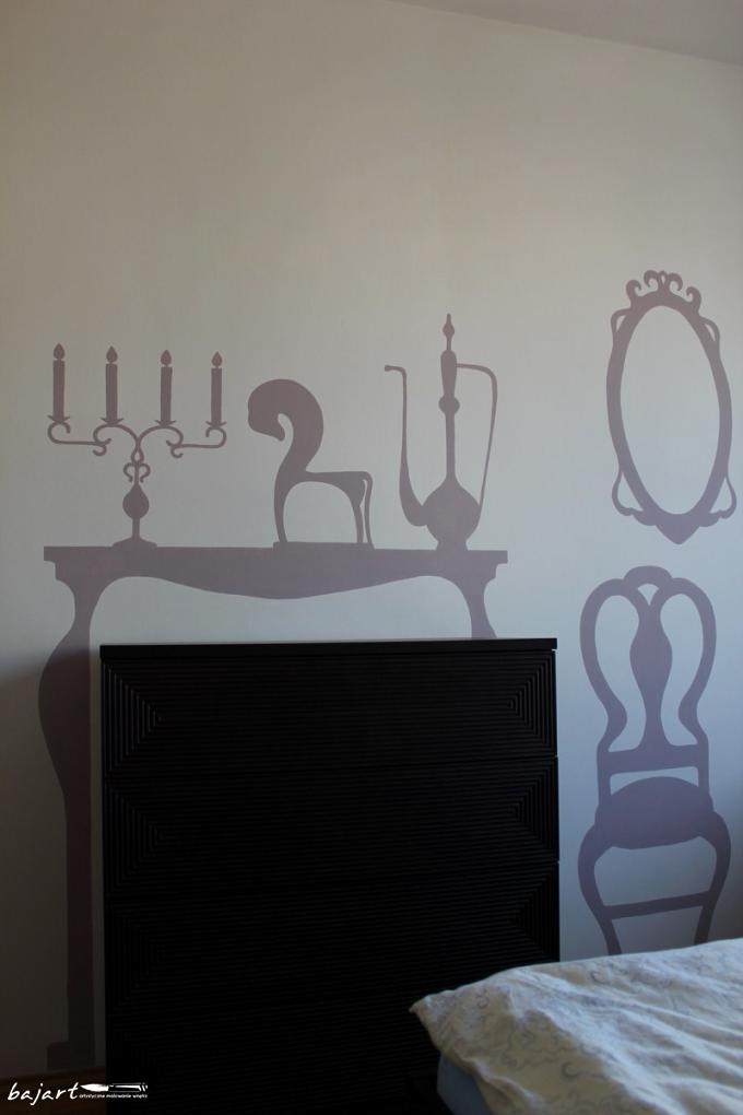 stylowa sypialnia - malunek na ścianie