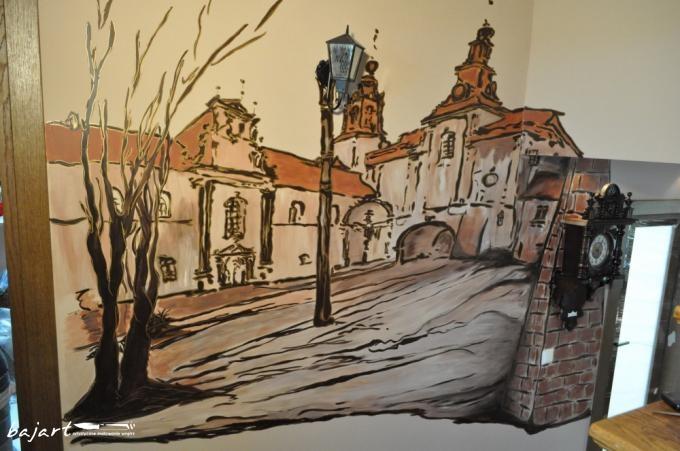 krajobraz z wkomponowana lampką i zegarem