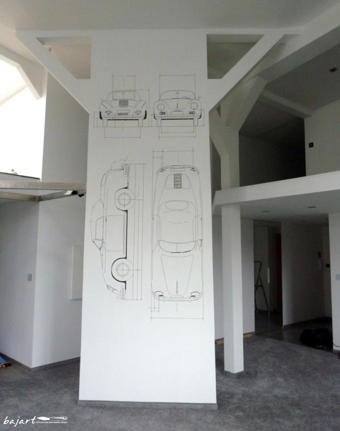 porsche rysunek na ścianie