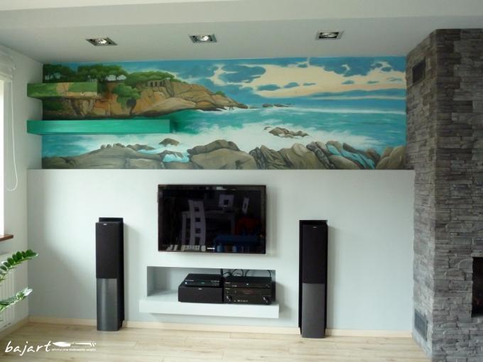 Artystyczne malowanie ścian- widok w salonie