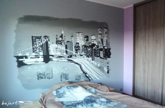 Manhattan - malunek na ścianie w sypialni