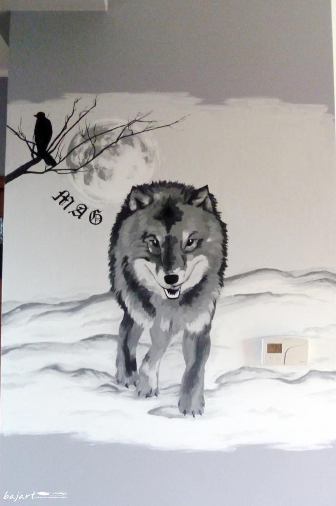 wilk czarno biały malunek
