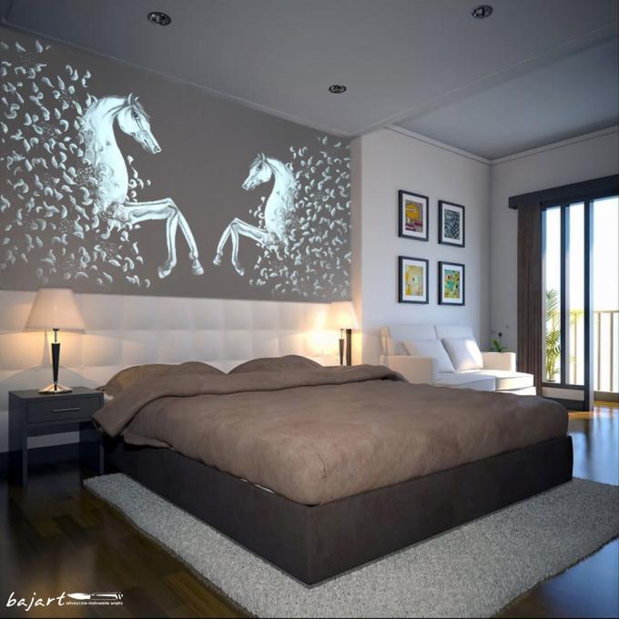 Rysunek na ścianie w sypialni