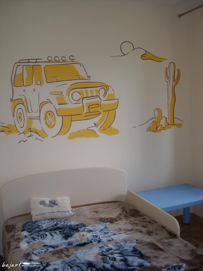 Auto terenowe w pokoju syna