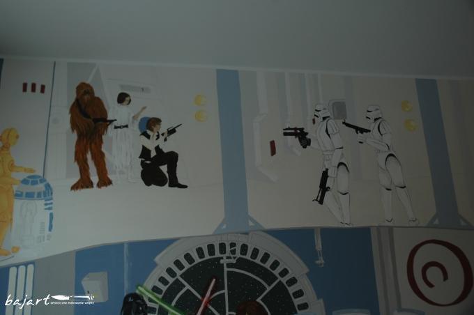 Bohaterowie Star Wars malowani na ścianie