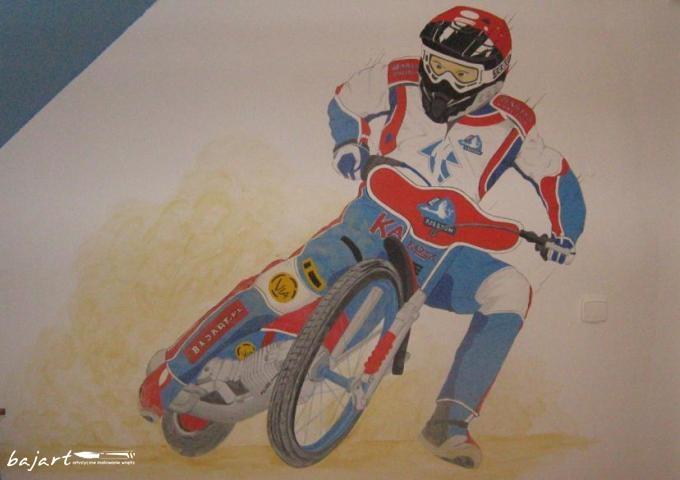 motocyklista- malunek w pokoju chłopca