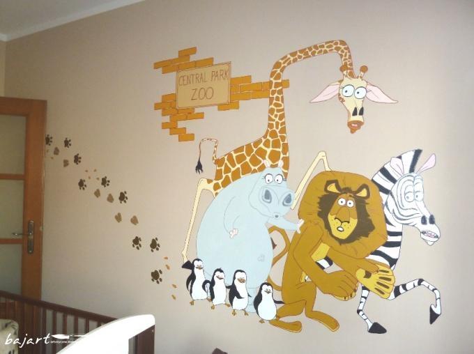 Bajka Madagaskar - malunek na ścianie