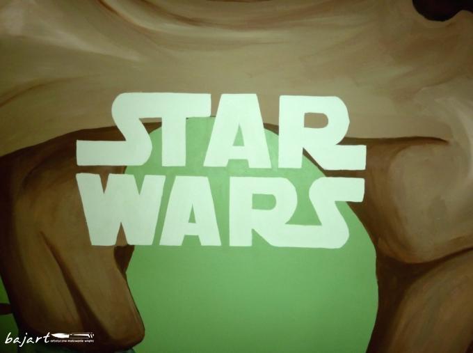 Star wars napis na ścianie