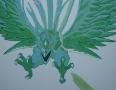 Zielony smok dekoracja ściany
